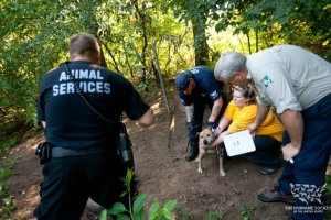 Aaron Winters, Executive Director of the Kalamazoo Humane Society, assists in the rescue of fighting dogs in August 2012 in Oshtemo Township, MI alongside Kalamazoo County Animal Services and the HSUS.